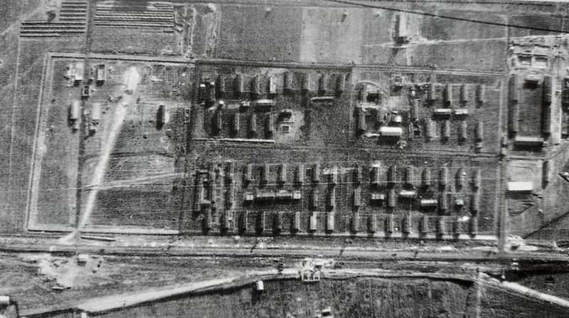 Aerial photo Auschwitz III Monowitz