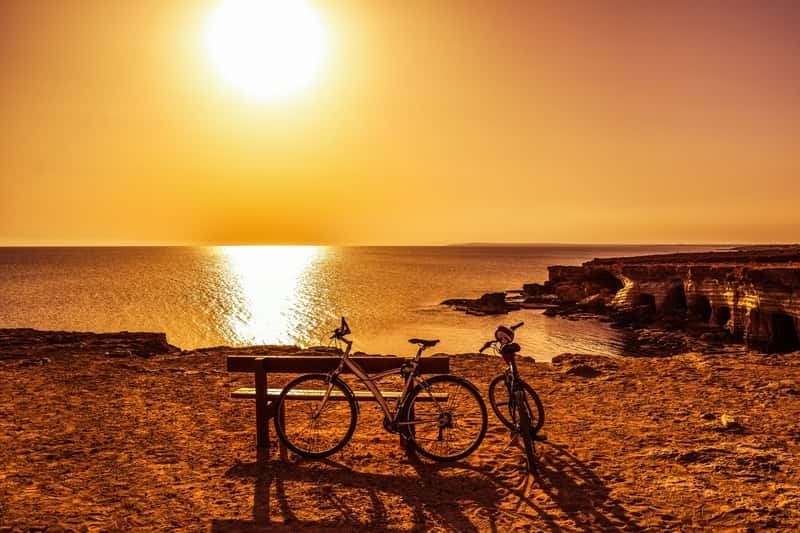 Sea Side Sunset in Gavo Greco - Ayia Napa - Bicycles next to the sea - Visit to Cyprus