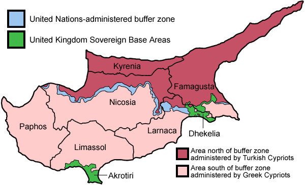 Cyprus island districts Buffer Zone UN
