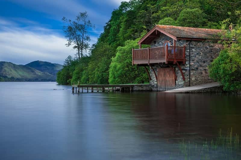 Boat House Cottage Waters Lake Scotland Blue