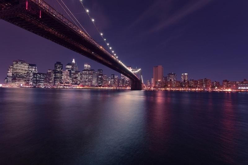 New York City Brooklyn Bridge Night Skyline