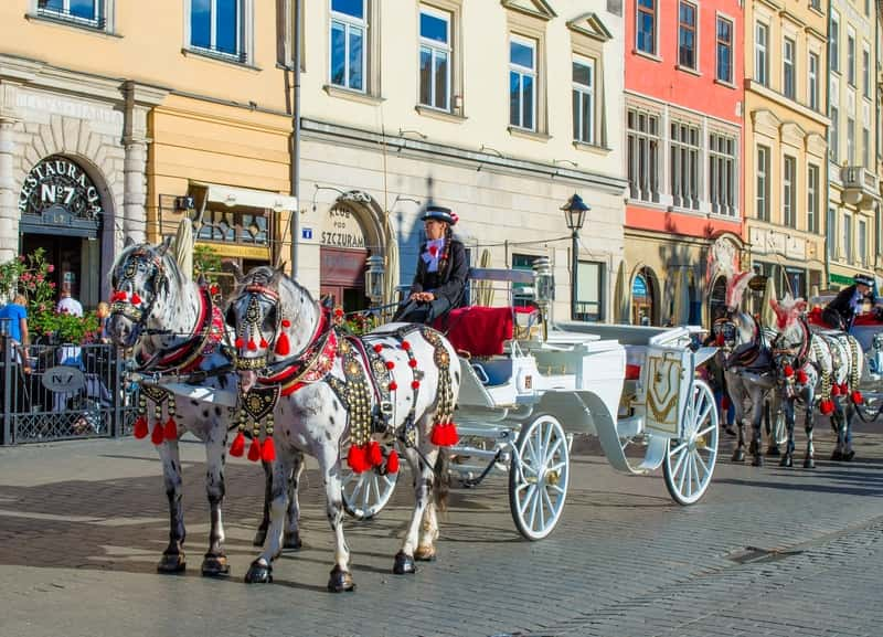 Horse Cab in Krakow old Town - Krakow and Auschwitz Tours from Warsaw
