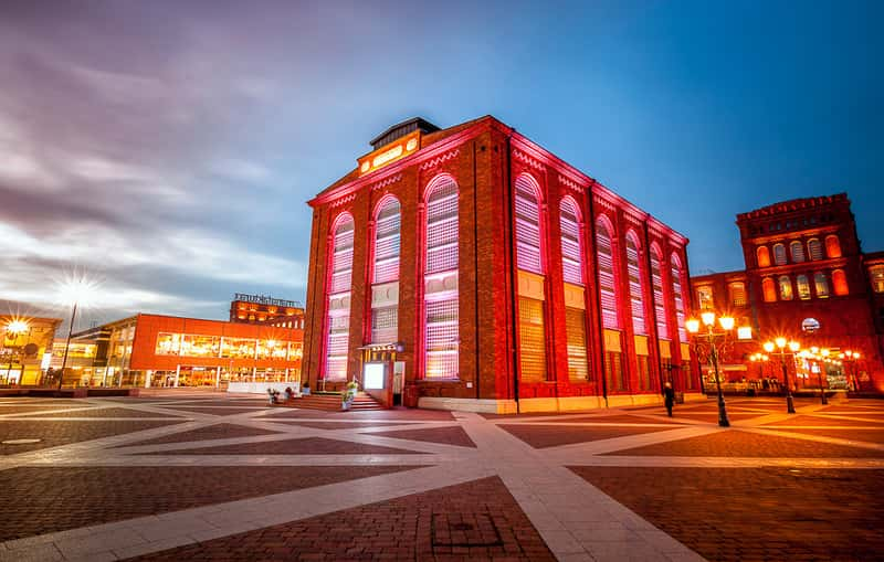 Lodz manufaktura, a red brick build factory and an art center
