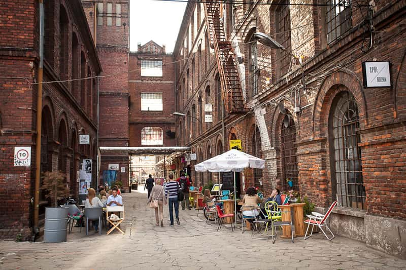 Lodz old Town with the old streets that remind a New York Neighborhood