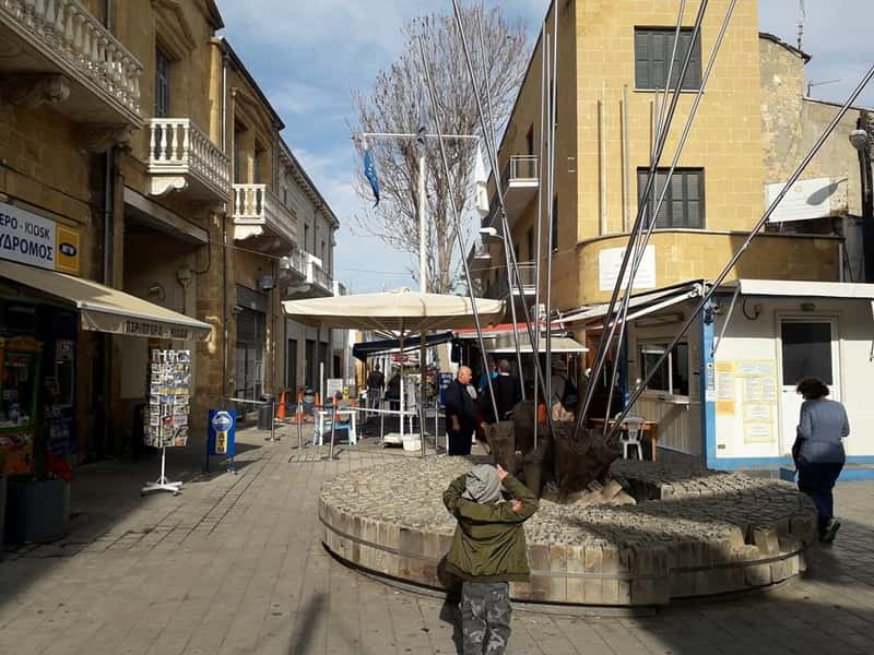 Ledra's street cross point. This is the main walking point where you can cross the borders, see the buffer zone and then enter a different nation.