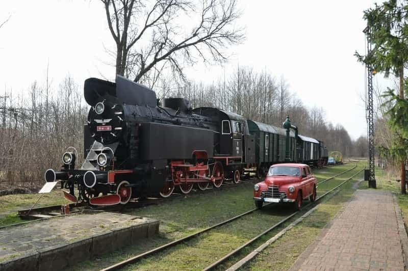 The Queue Train Drezyna Railway Station in Bialowieza