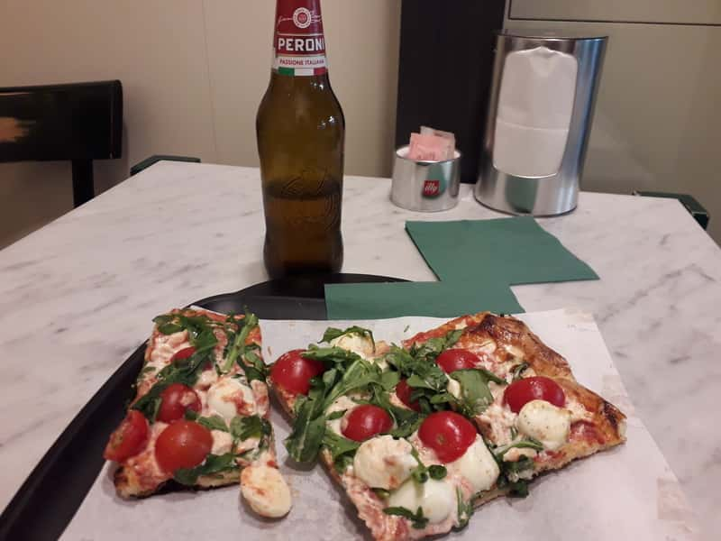 Pizza And Beer Next To Trevi Fontain
