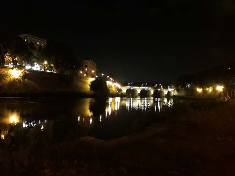 Tyber River Bridge during the Night - Rome by Night, Light Reflections
