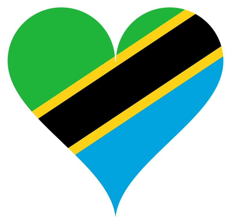 heart love Tanzania - Tanzania Flag in a Heart Scheme