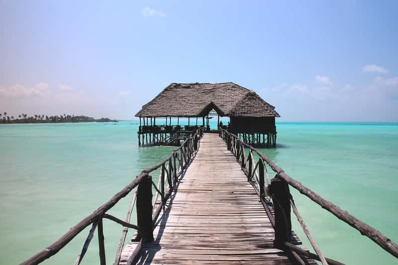 Paradise beach in Zanzibar - Wooden pier in the sea