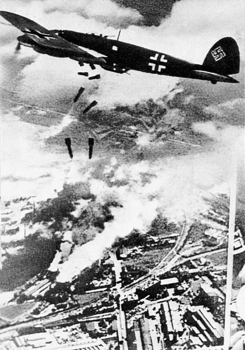 German Heinkel He 111 planes bombing Warsaw, September 1939