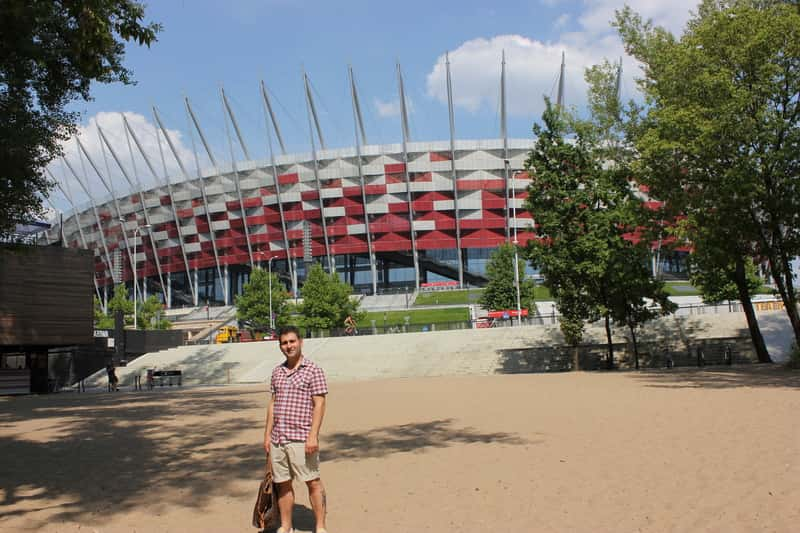 National Stadium Warsaw Sand and Me with the Bag of my wife - Classic