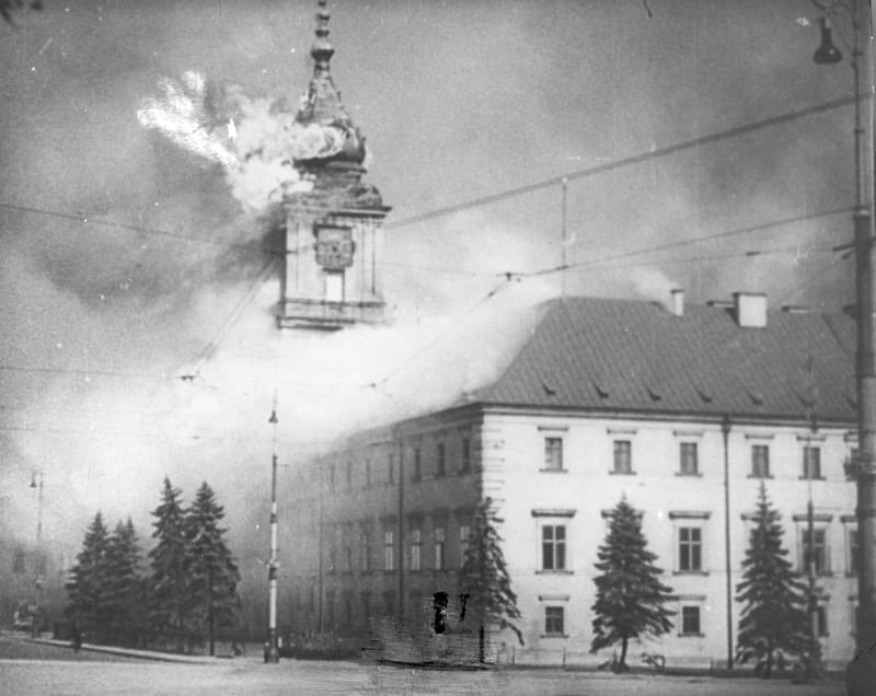 The Royal Castle in Warsaw burning 17.09.1939