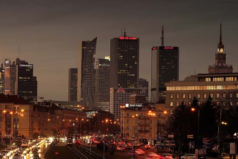 Warsaw City Street Traffic Night Sunset
