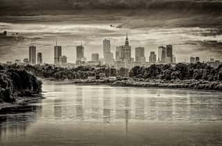 View of Warsaw behind the Wisla River - Black and White - Life in Warsaw