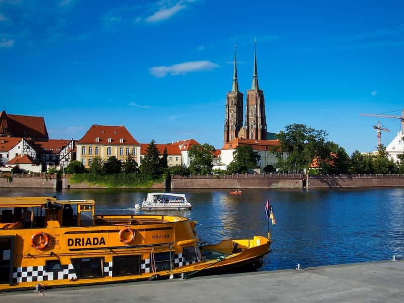 St. John Cathedral in Wroclaw behind the River